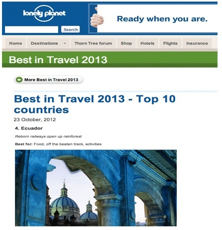 Ecuador Top Ten Lonely Planet  Destinos 2013
